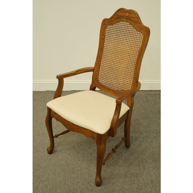 Bernhardt Late 20th Century Vintage Bernhardt Furniture French Provincial Cane Back Dining Arm Chair For Sale - Image 4 of 11