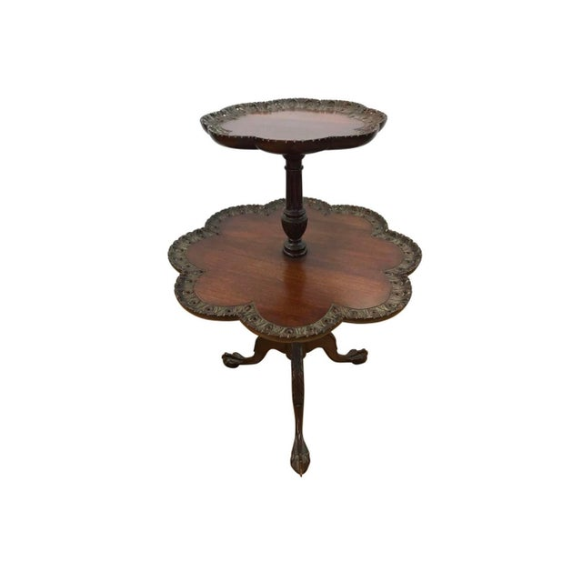 Late 19th Century Antique Chippendale Mahogany Two-Tiered Pie Crust Table For Sale - Image 5 of 5
