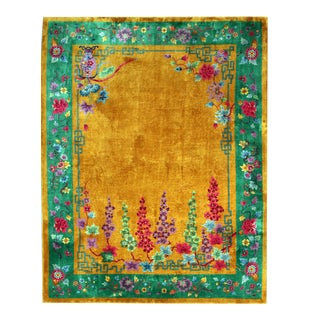 Art Deco Yellow & Green Chinese Rug For Sale