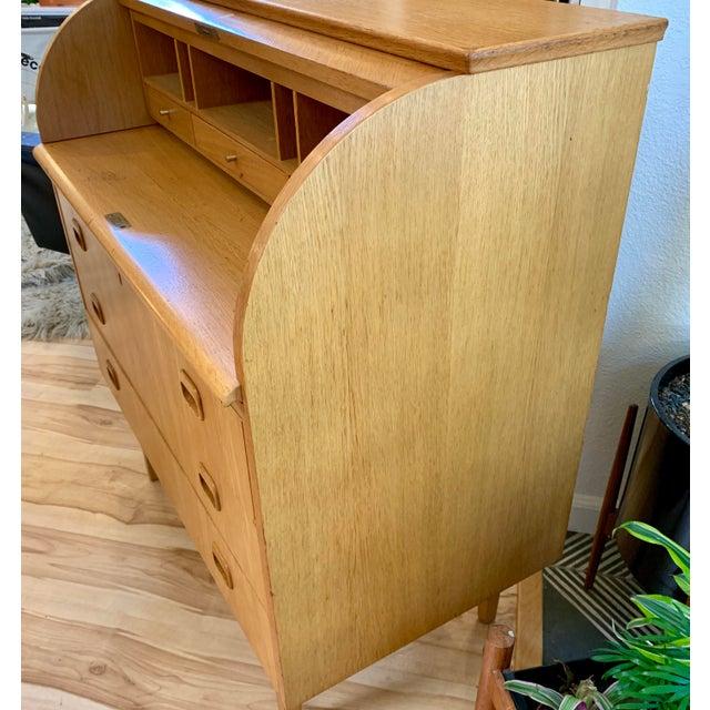 Metal 1960s Swedish Modern Teak Rolltop Desk For Sale - Image 7 of 13