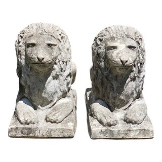 Vintage Concrete Sitting Lions - a Pair For Sale