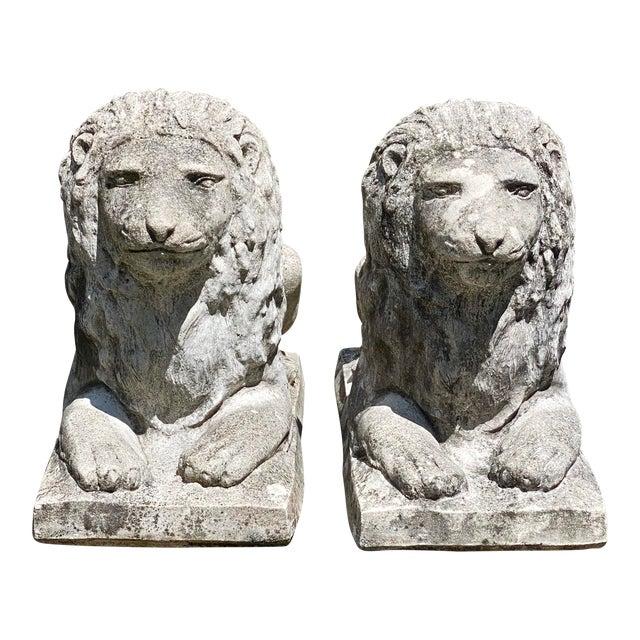 Vintage Concrete Sitting Lions - a Pair For Sale