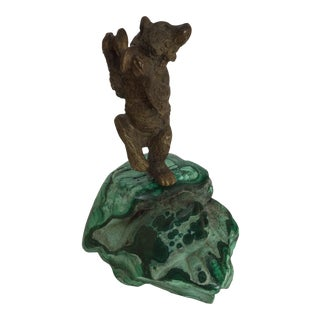 Russian Bronze Dancing Bear Sculpture on Malachite For Sale