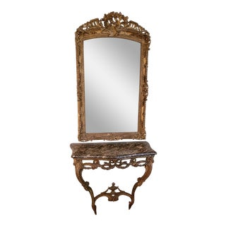 19th Century Traditional Marble Top Console With Mirror For Sale