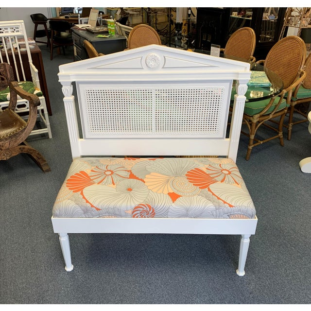 Vintage Neoclassic Caned Back Hall Bench in Benjamins Moores 'Swiss Coffee' (creamy ivory) and Newly Upholstered in...