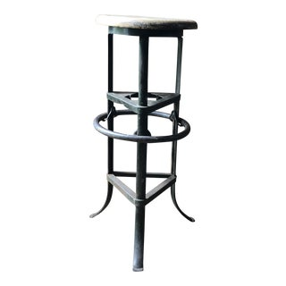 Antique Industrial Metal and Wood Drafting Stool For Sale
