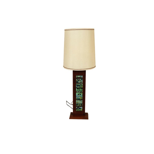 Harris Strong Mid Century Wood Tile Lamp For Sale - Image 10 of 10