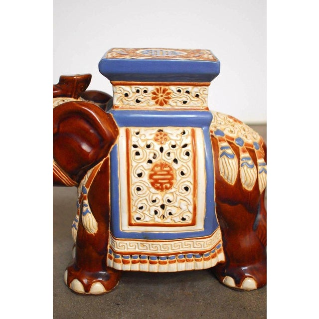 Ceramic Elephant Garden Stools or Drink Tables - A Pair - Image 7 of 11
