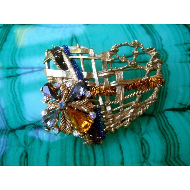 French Christian Lacroix Paris Gilt Metal Crystal Heart Brooch For Sale - Image 3 of 6