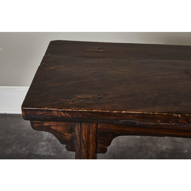 Wood 18th Century Chinese Elm Altar Table For Sale - Image 7 of 11