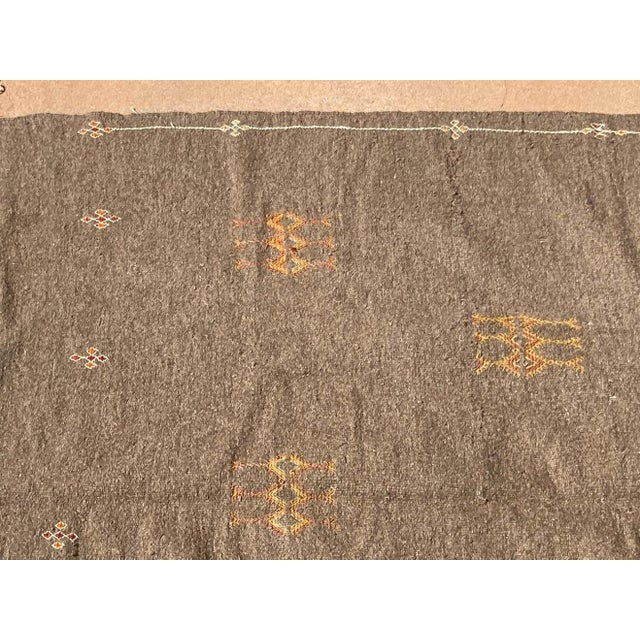 Berber Tribes of Morocco Moroccan Vintage Flat-Weave Brown Rug For Sale - Image 4 of 13