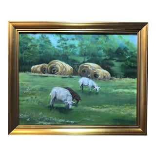 Grazing Sheep Oil on Canvas For Sale