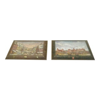 A Pair of German E Otto Schmidt 1985 Extra Large Decorative Box Cookie Tin For Sale