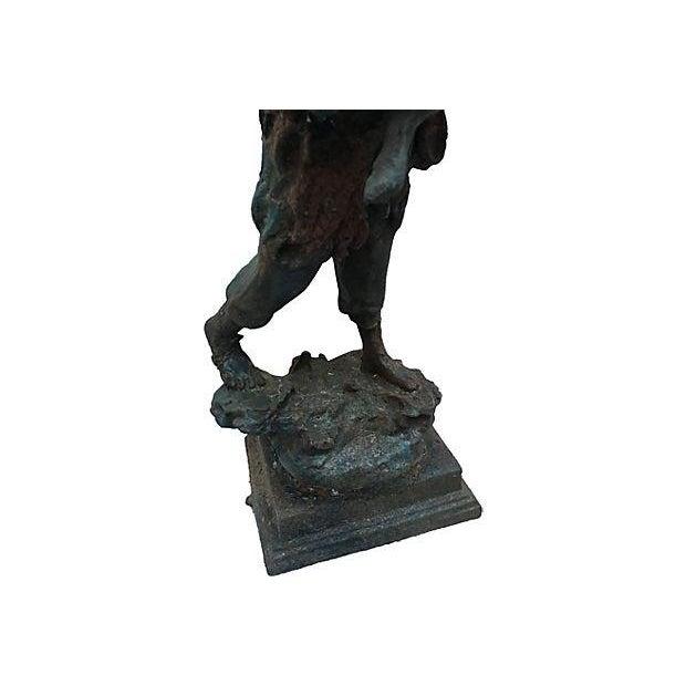 French Cast Iron Boy & Calf Garden Statue - Image 3 of 6