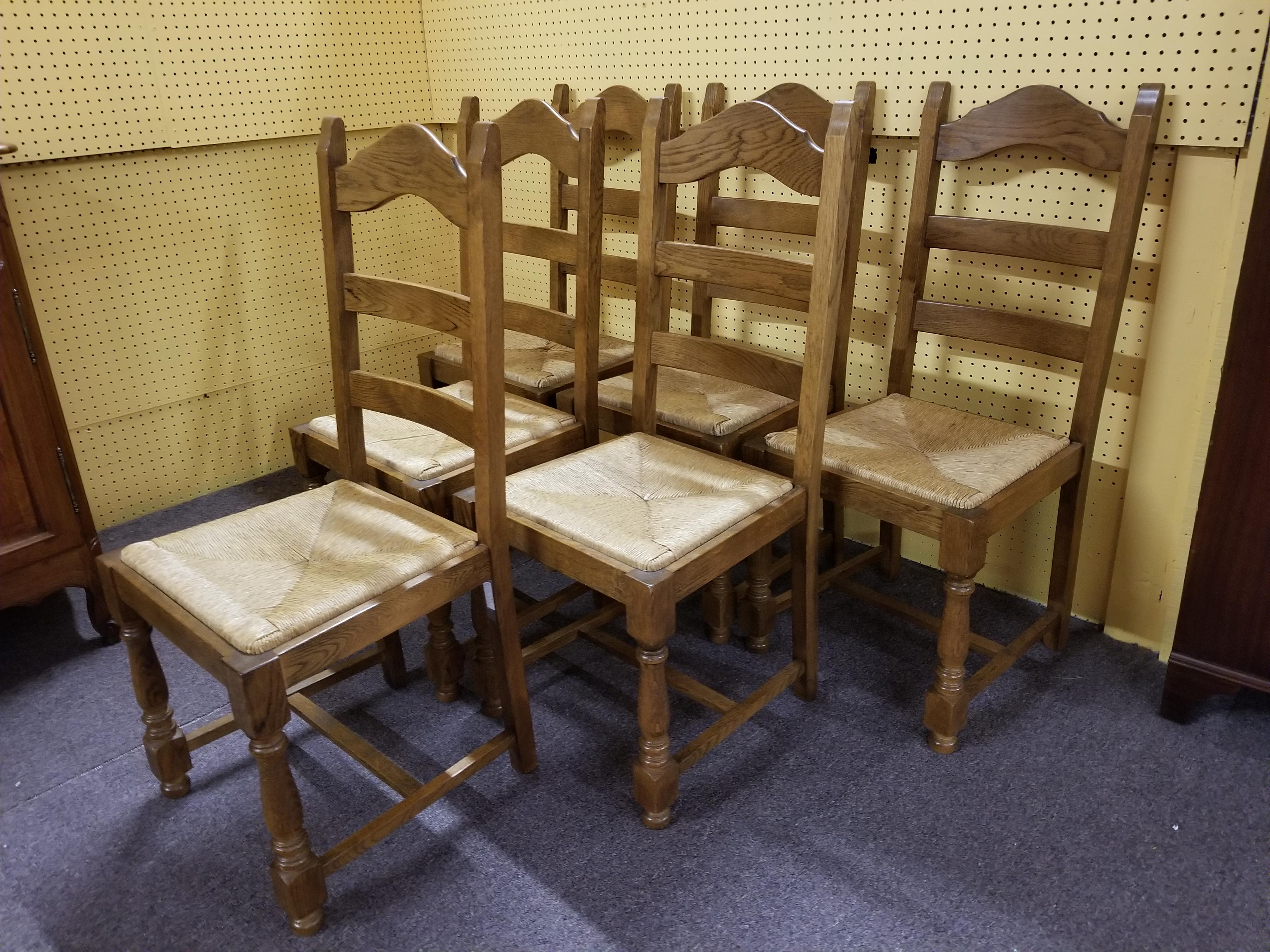 A fine set of six French country style very sturdy solid wood rush seat  sc 1 st  Chairish & Antique Rush Seat Chairs - Set of 6 | Chairish