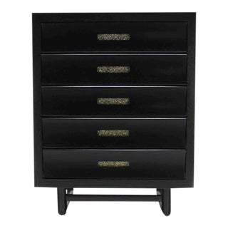Vintage Mid Century Five Drawers Ebonized High Chest For Sale