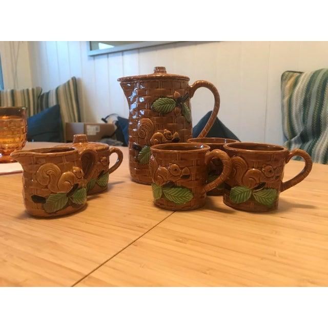 Asian Vintage Squirrel Tea Set Japanese Pottery For Sale - Image 3 of 13