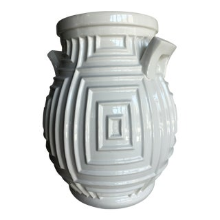 Contemporary Hand Made White Ceramic Geometric Vase For Sale