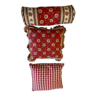 Red Pierre Deux Cushions - Set of 3 For Sale
