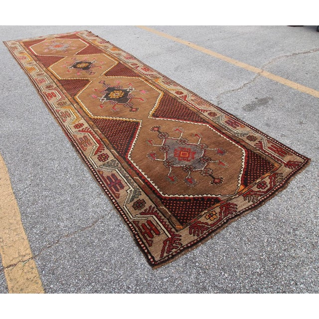 Islamic Vintage Tribal Turkish Hand Knotted Rug - 4' X 12'2 For Sale - Image 3 of 6