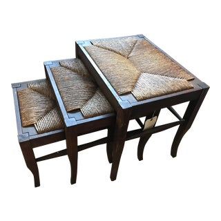 Mid 19th Century Antique Cattail Rush Nesting Stools- Set of 3 For Sale