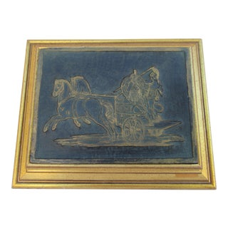 Hollywood Regency Roman Warriors & Chariot Gilt Framed Wood Carved Printer's Block
