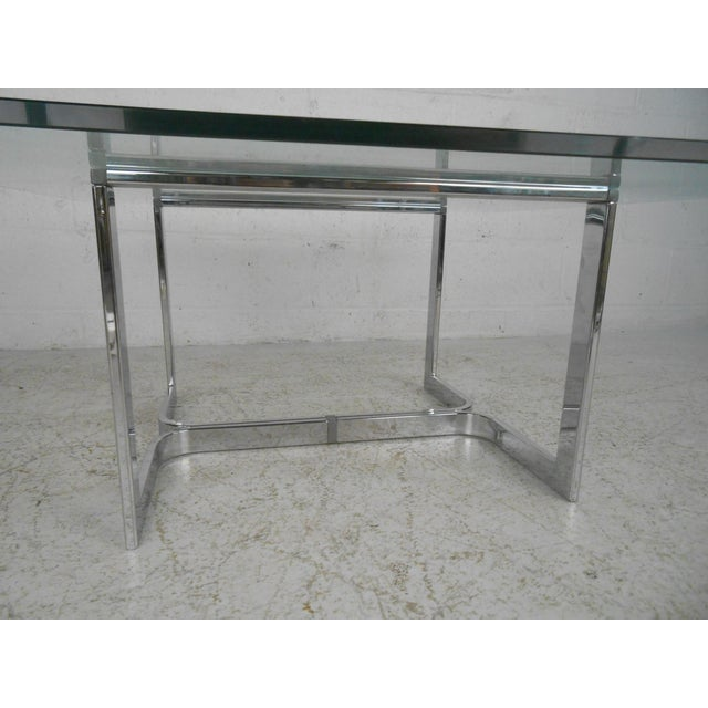 Brown Mid-Century Modern Chrome and Glass Coffee Table For Sale - Image 8 of 11