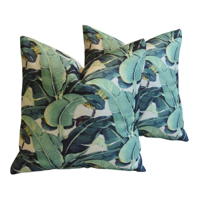 Banana Leaf Pillows - A Pair - Image 1 of 5