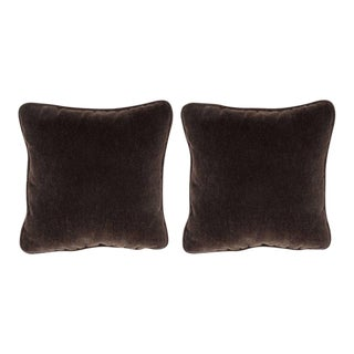 Custom Handmade Pillows in Chestnut Mohair with Piping - a Pair For Sale