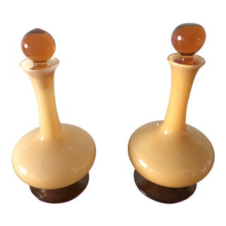 Pair of Vintage Amber Murano Glass Cruet Set Mini Decanters For Sale