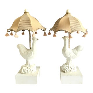 French White Ceramic Chicken Lamps with Pagoda Shades - a Pair For Sale