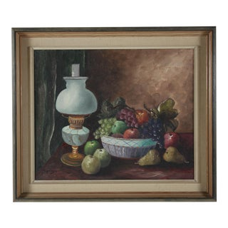 1951 Oil Painting 'Bowl of Fruit' For Sale