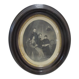 Abraham Lincoln Family 1865 Ab Walter Schell Engraving in Original Frame For Sale
