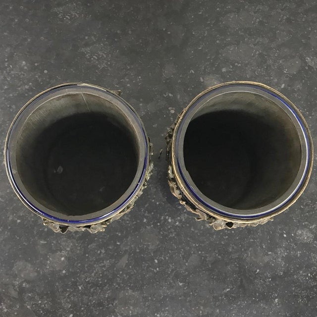 Pair 19th Century Cobalt Porcelain & Bronze Vases For Sale - Image 10 of 12