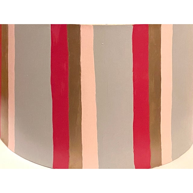 Hand Painted Custom Modern Lampshade For Sale - Image 4 of 12