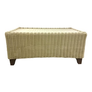 Transitional Outdoor/Indoor Off-White Wicker Style Cocktail Table For Sale