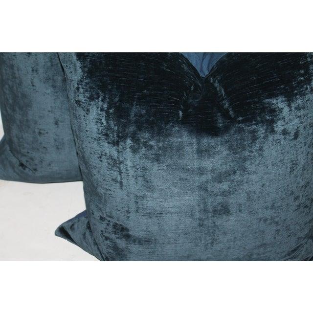 French Pair fof Indigo Velvet Pillows For Sale - Image 3 of 4