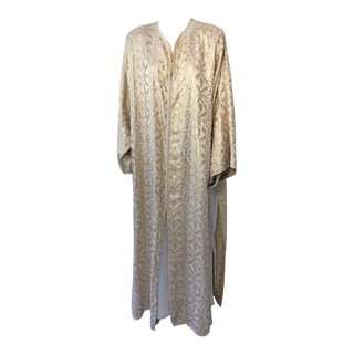 Moroccan Gold Silk Brocade Caftan Set For Sale