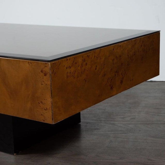 Art Deco Mid-Century Cocktail Table in Carpathian Elm and Ebonized Walnut For Sale - Image 3 of 6
