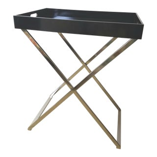 Modern Black Lacquer Bar Tray on Folding Chrome Stand For Sale