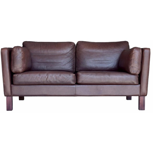 Vintage Danish Leather Loveseat - Image 1 of 4