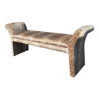 Vintage Leopard Velvet Scroll Arm Bench For Sale