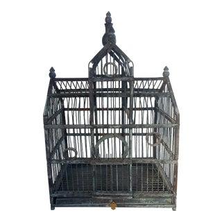 Vintage Distressed Dark Gray Bird Cage