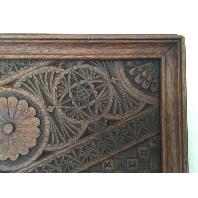 French Vintage French Carved Wood Tray For Sale - Image 3 of 7
