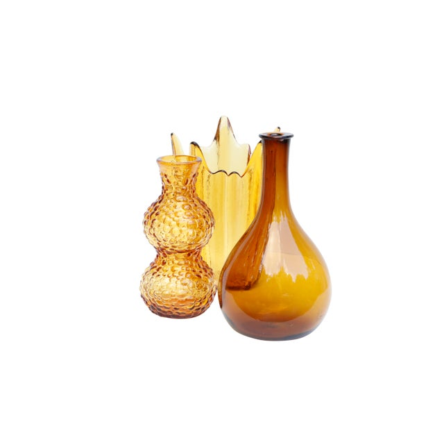 Amber Glass Vases, Set of 3 For Sale - Image 4 of 11