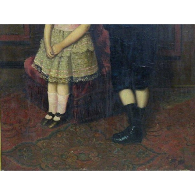 Canvas Oil on Canvas Portrait of 2 Children For Sale - Image 7 of 8