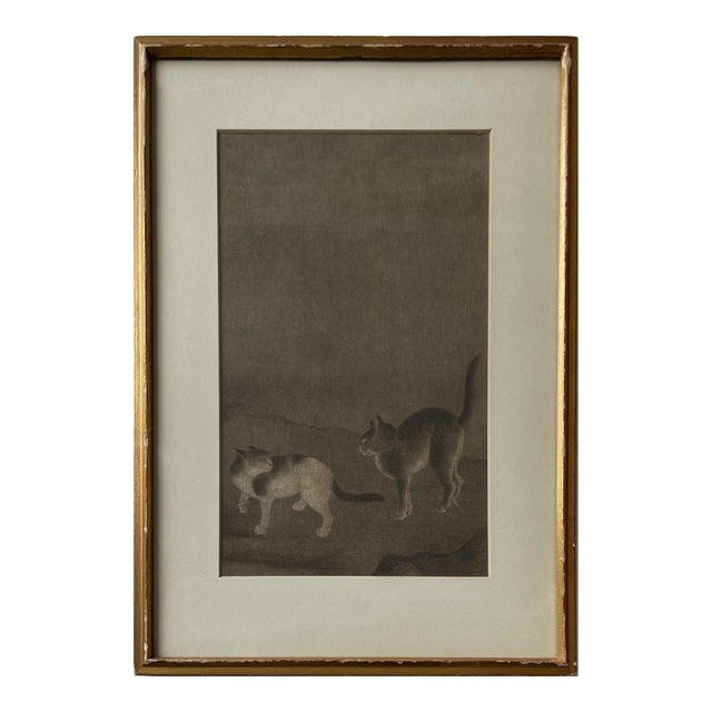 """Mid 20th Century """"Two Cats - Ming Period"""" Print, Framed For Sale"""