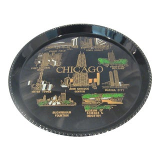 1950s Mid Century Modern Chicago Tourism Tray