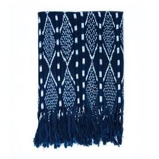Guatemalan Indigo & White Ikat Blanket For Sale