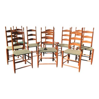 Handmade Cherry Shaker Ladder Back Dining Chairs - Set of 10 For Sale